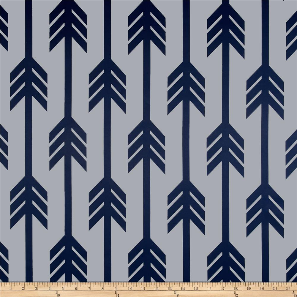 RCA Arrows Blackout Drapery Fabrics Navy Blue/White