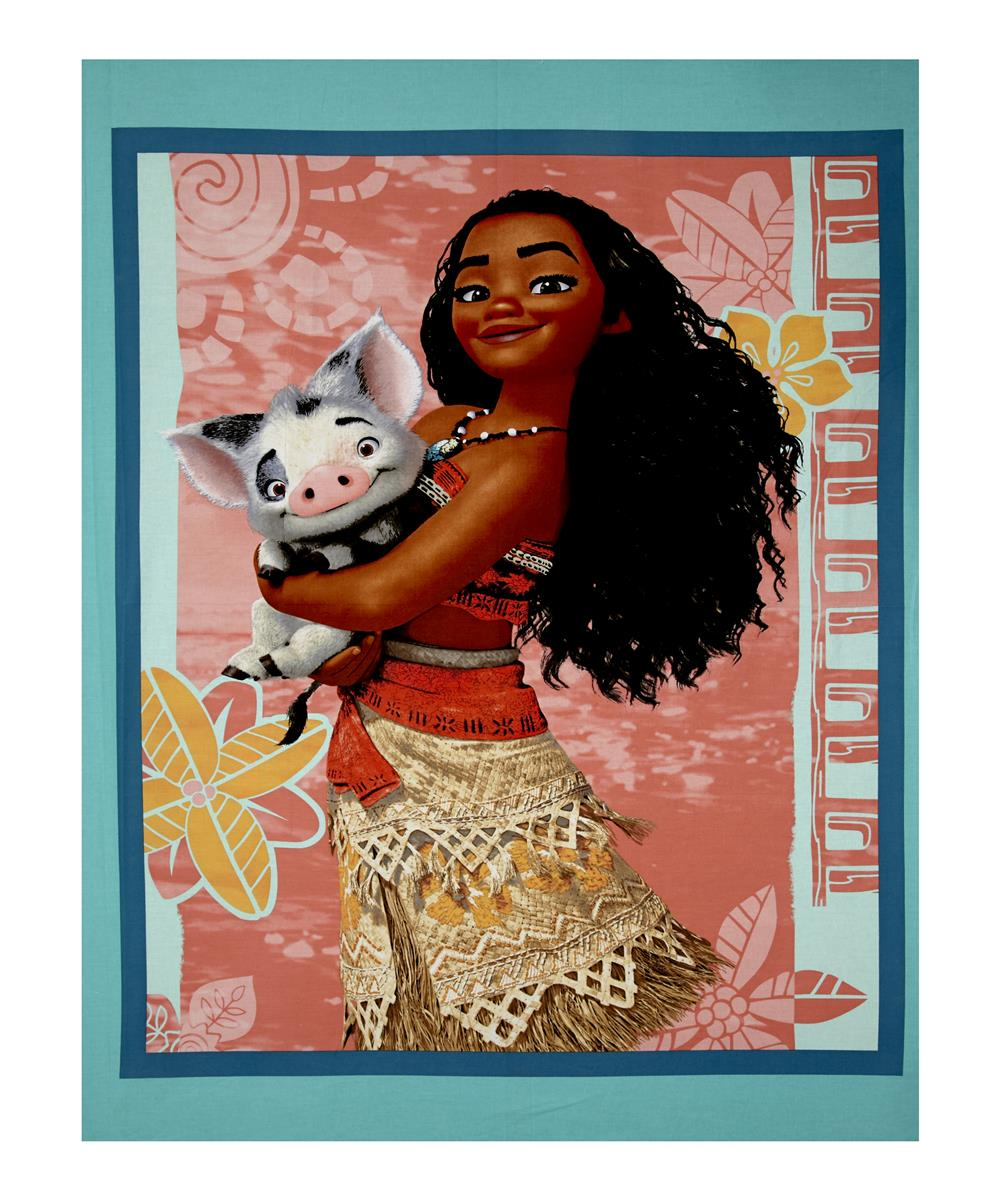 "Disney Moana Moana and Pua 36"" Panel Teal"