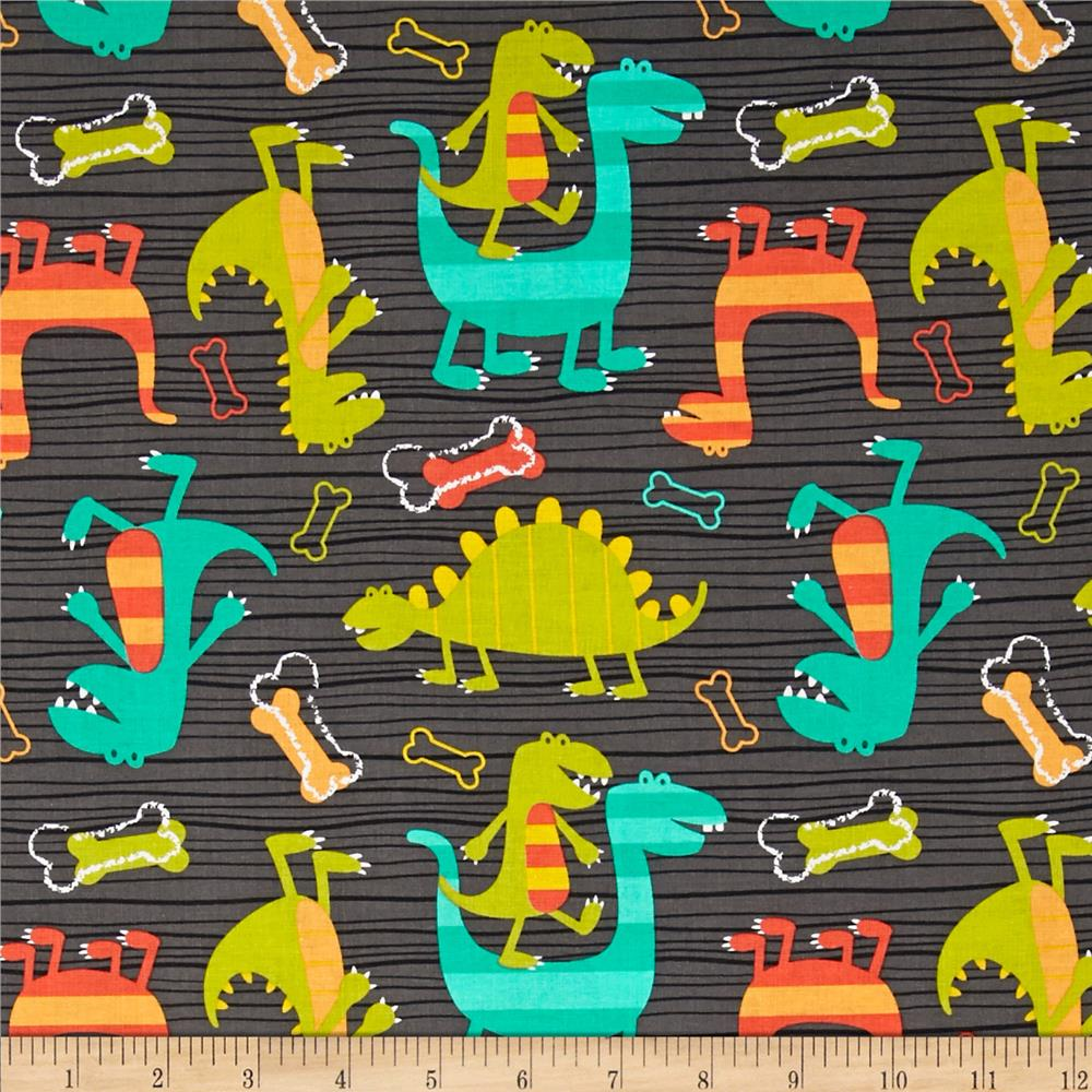 Michael miller orchid grey bonehead grey discount for Grey dinosaur fabric