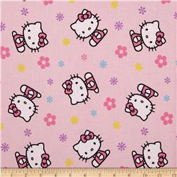 Hello Kitty Toss with Flowers Pink Fabric