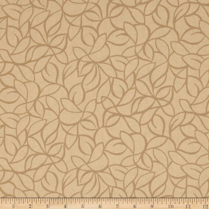 "108"" Wide Quilt Back Windsor Leaves Tan"