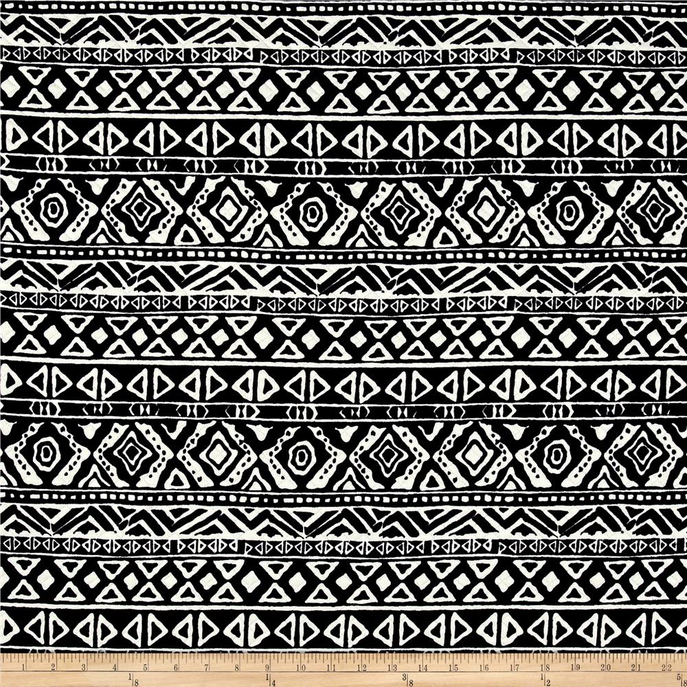 Quilted Knit Aztec Stripes Black/White