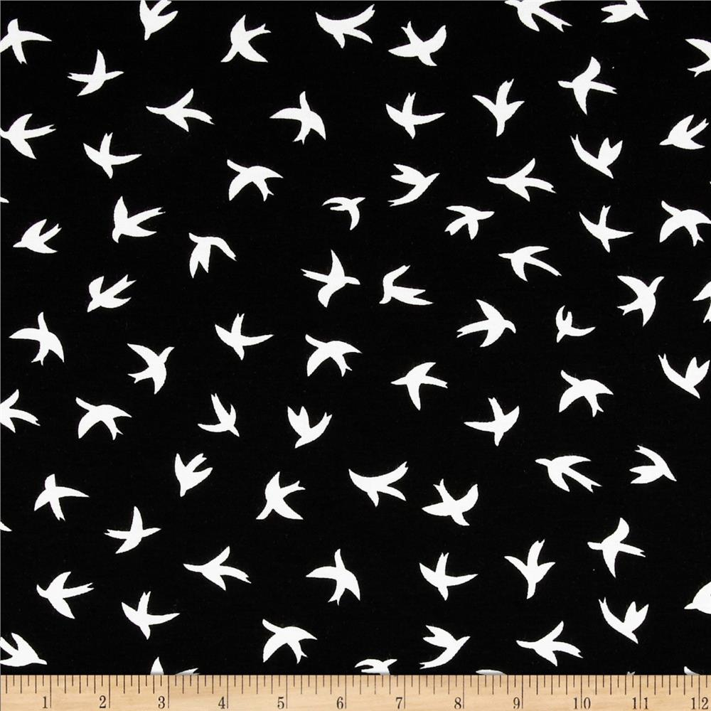 Dakota Stretch Jersey Knit Bird Black/White