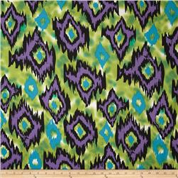 Stretch ITY Jersey Knit Carson Ikat Teal/Purple/Green