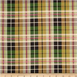 Stretch Satin Charmeuse Plaid Green/Wine
