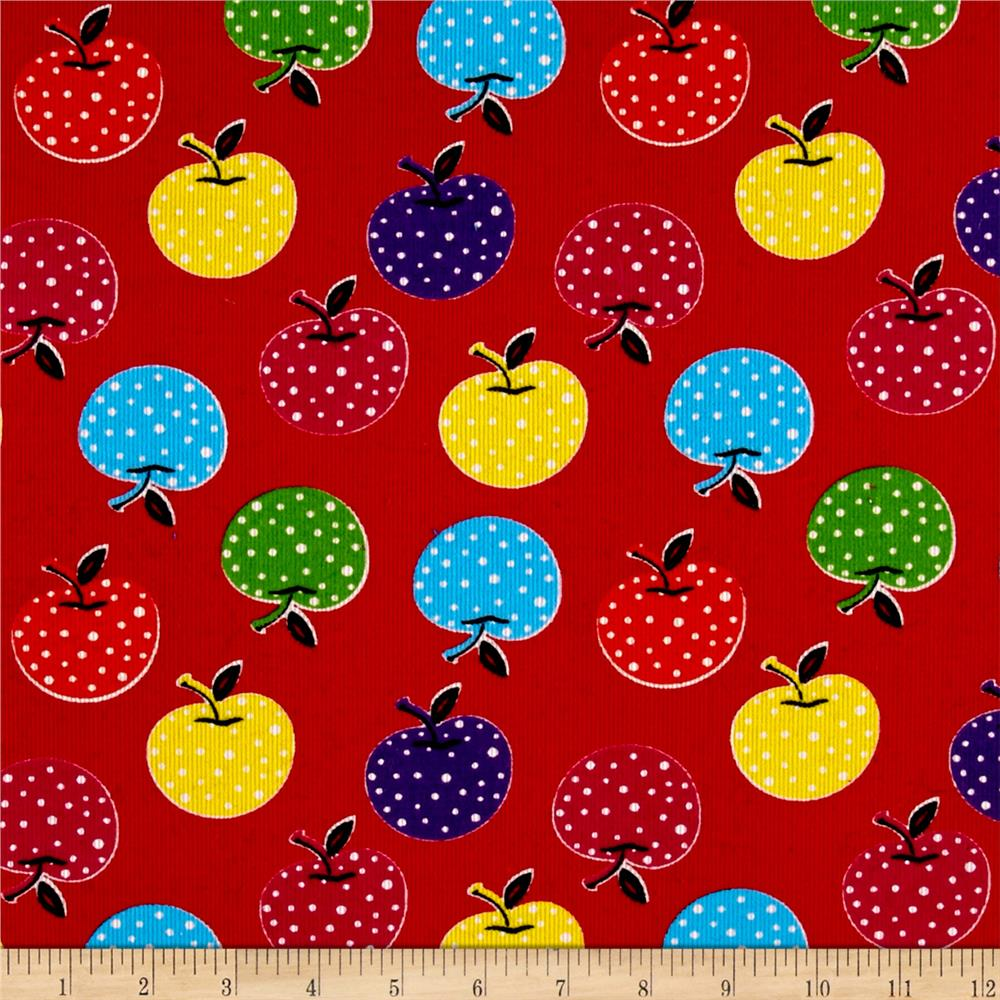 Corduroy Colorful Apple Print Red