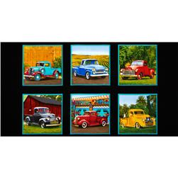 Vintage Pickup Trucks Panel Black