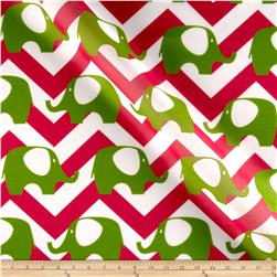 RCA Elephant Chevron Sheers Green/Hot Pink