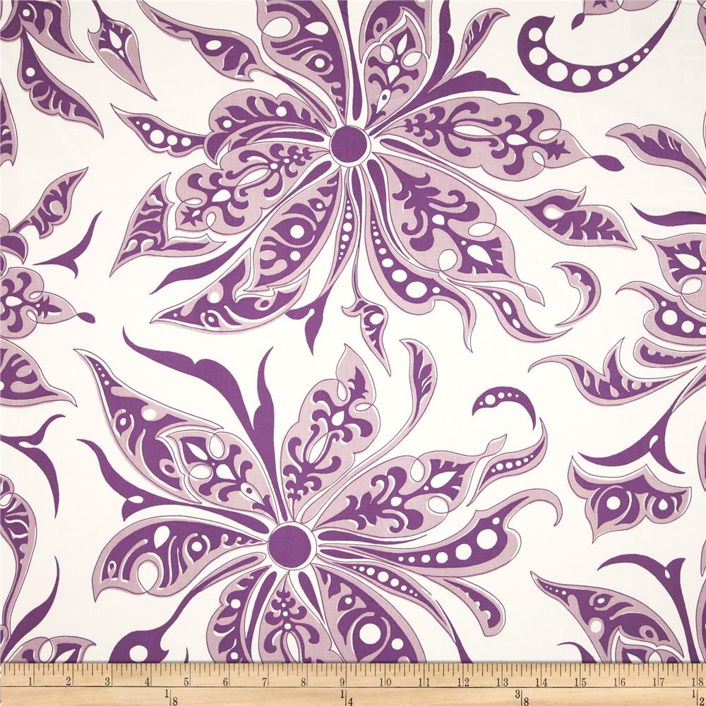 Duralee Flower Splash Sateen Purple