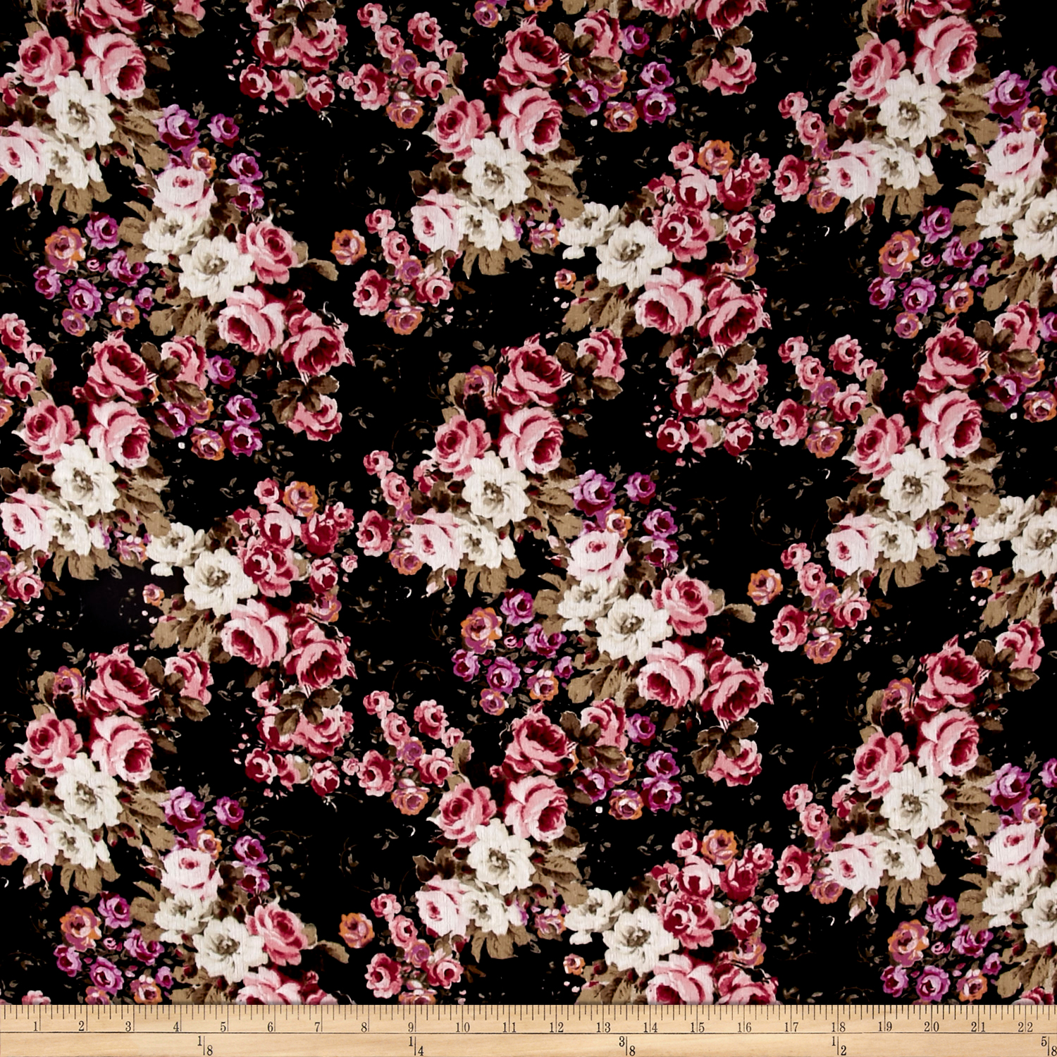 Rayon_Crepe_Floral_Bouquet_Black_Fabric