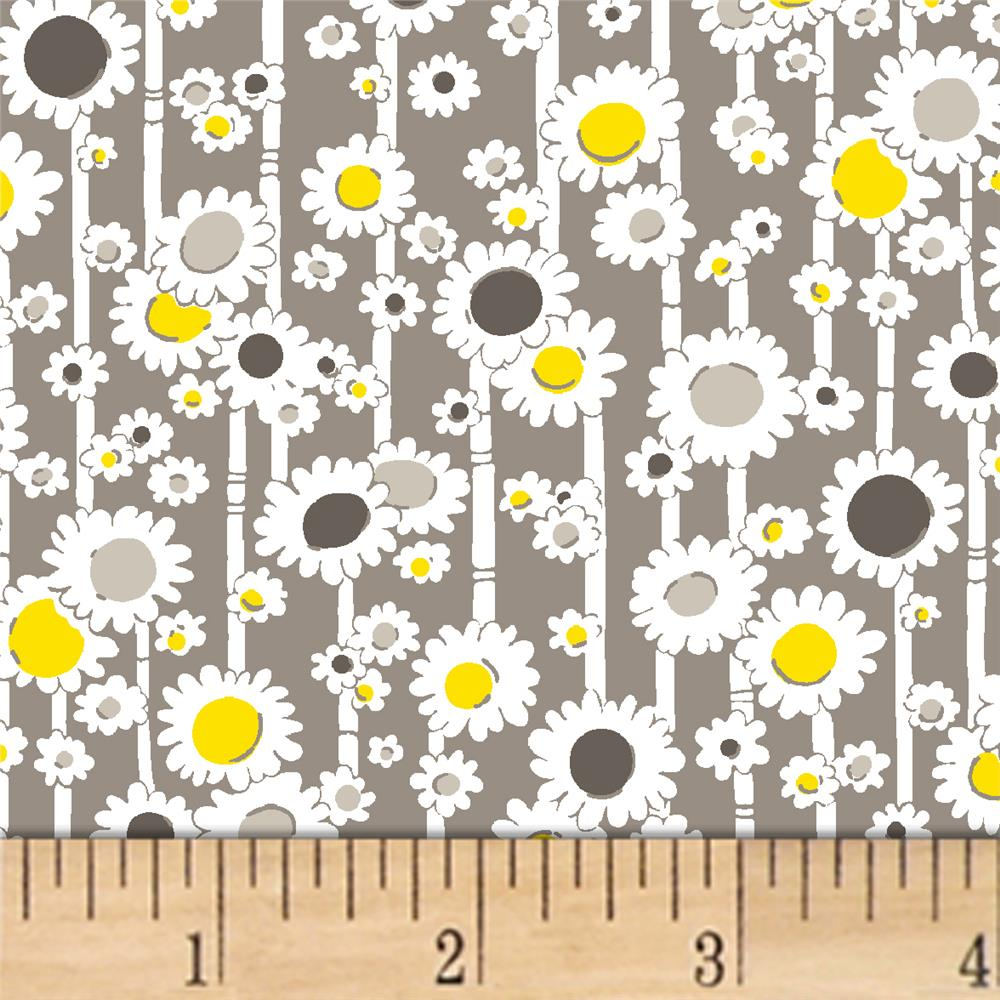 Mojito Bamboo Daisies Mist Fabric By The Yard