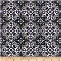 Telio Bloom Stretch Cotton Sateen Spanish Tile Print Black