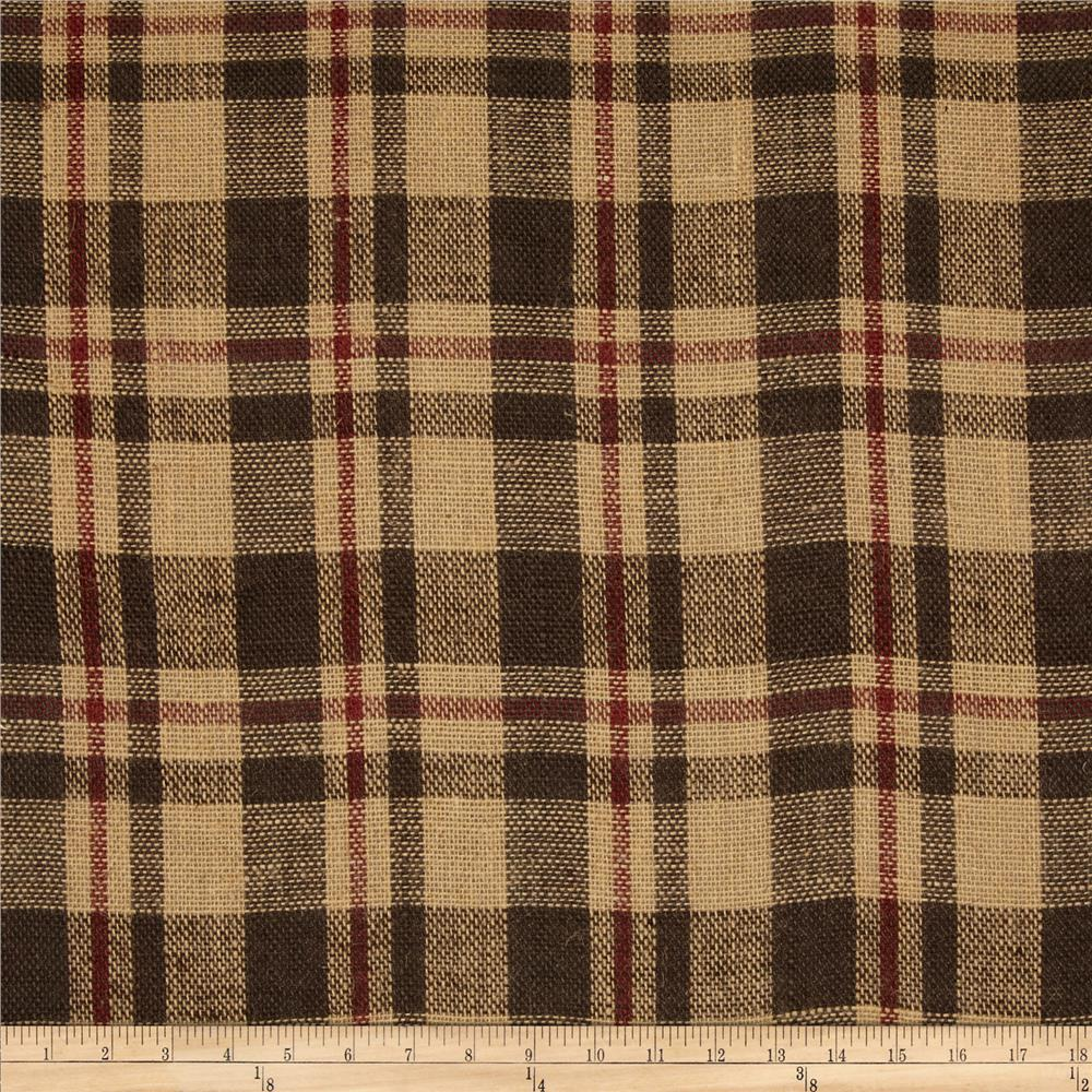 60'' Sultana Burlap Plaid Brown/Rust Fabric By The Yard