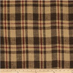 60'' Sultana Burlap Plaid Brown/Rust Fabric