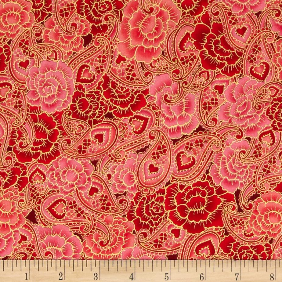 Sweet Heart Metallics Floral Paisley Rose
