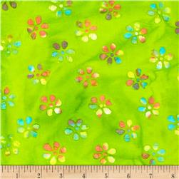 Indian Batik Burnout Small Floral Lime