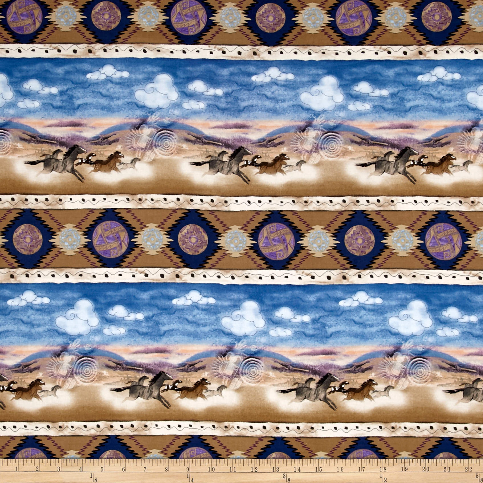 Timeless Treasures Far And Away 11'' Horse Stripe Multi Fabric by Timeless Treasures in USA