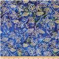 Indian Batik Vineyard Grape Vine Metallic Blue