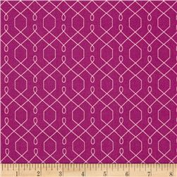 Michael Miller Emma's Garden Lovely Lattice Violet Fabric