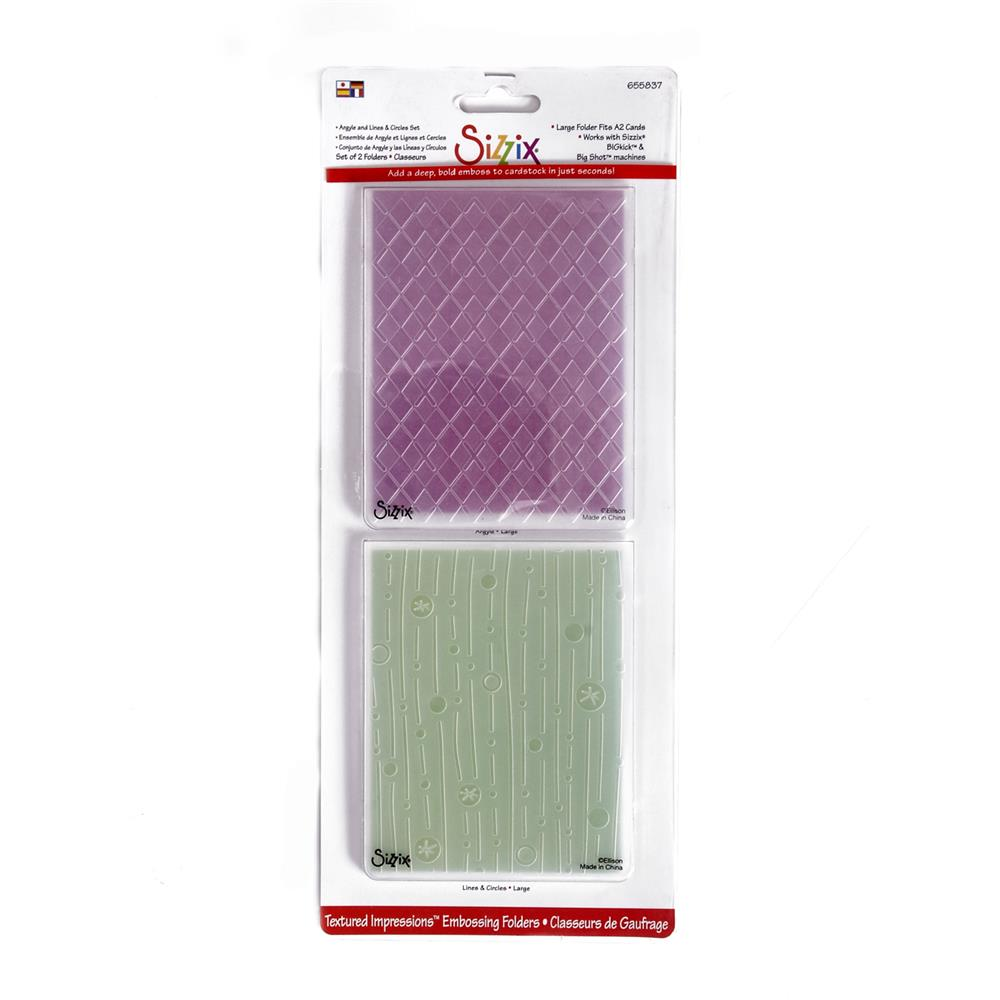Sizzix Textured Impressions Embossing Folders 2 Pack-Argyle and Lines & Circles