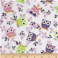 Tossed Owls White/Purple/Lime
