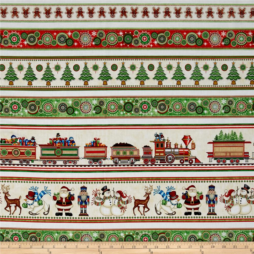 Santa Coming To Town Christmas Decorative Sstripe Multi