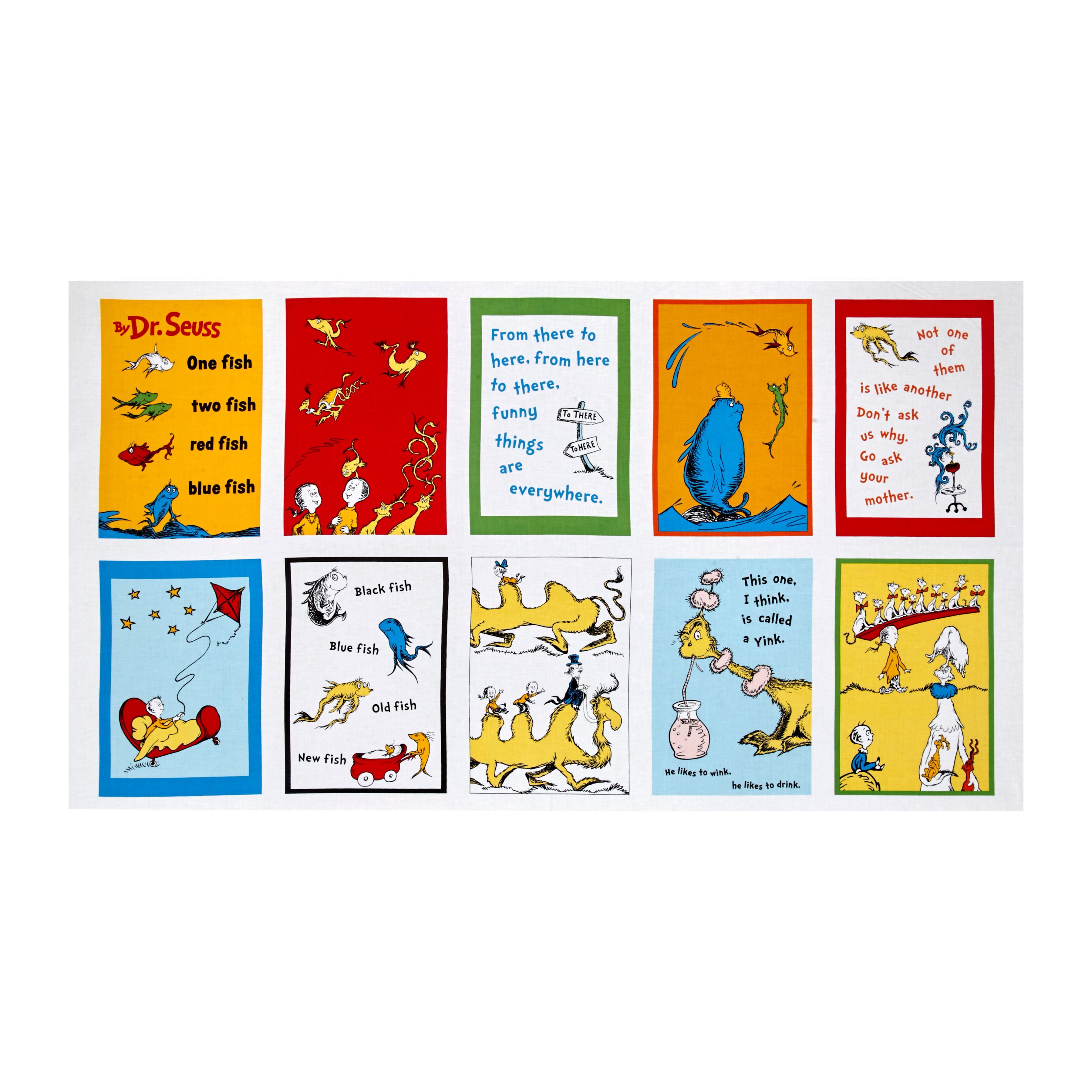 Dr. Seuss One Fish Two Fish 23'''' Panel Celebration Fabric