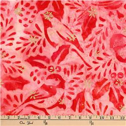 Kaufman Batiks Metallic Northwood Birds Cardinal