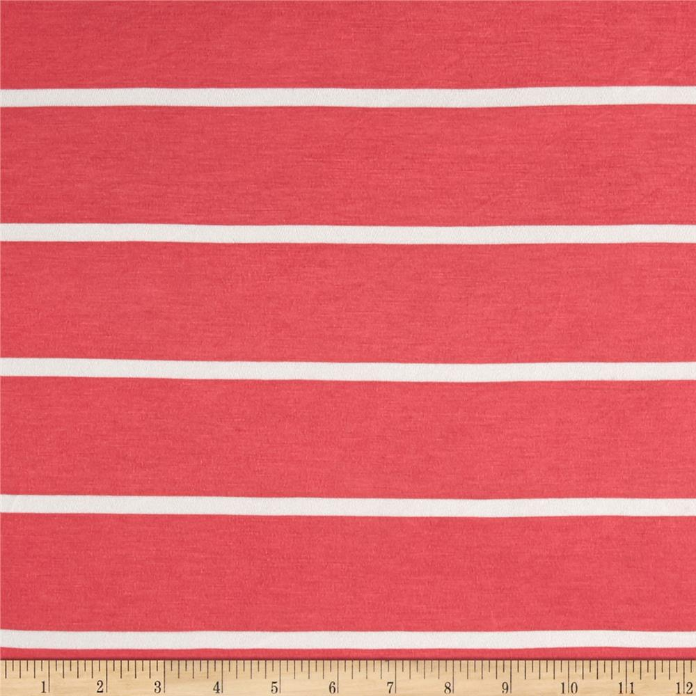 Lightweight Jersey Knit Stripe Coral/White