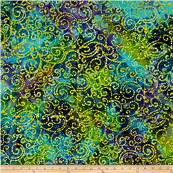Indian Batik Cascades Scroll Purple/Lime/Aqua