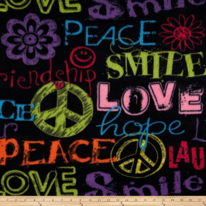 Fleece Love Peace Black Multi