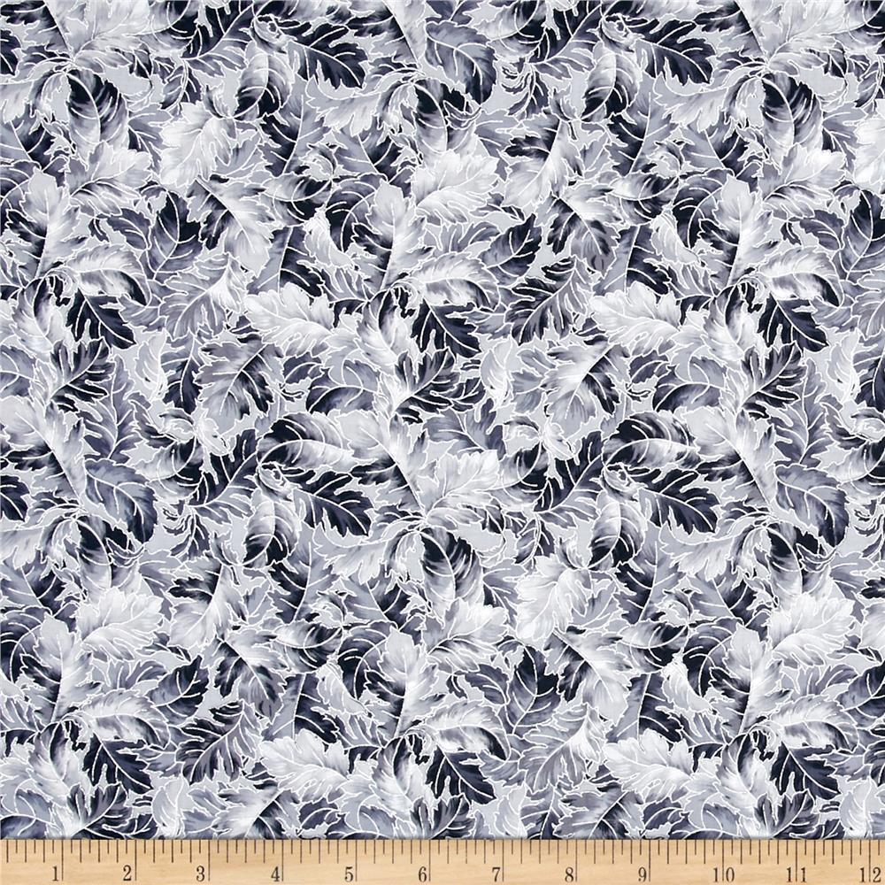 Jenny Jane Metallic Leaves Charcoal/Silver
