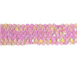 "1 1/2"" Stretch Metallic Sequin Trim White Aurora"