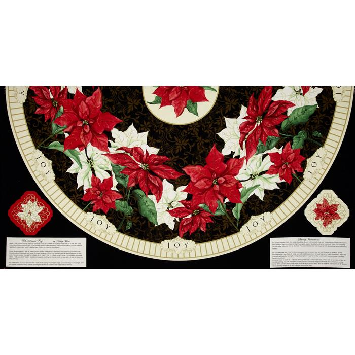 Christmas Joy Tree Skirt 24'' Panel Fabric By The Yard