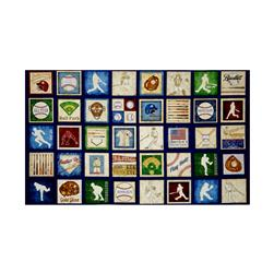 "Grand Slam Baseball Motifs Picture 24"" Patches Panel Navy"