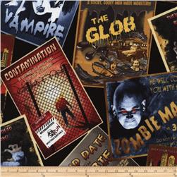 Timless Treasures Movie Zombie Posters Multi