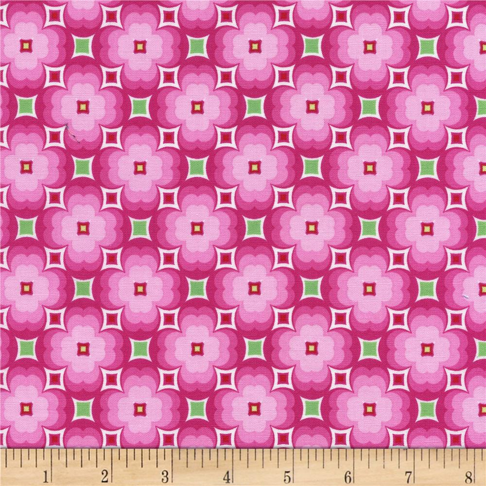 Timeless Treasures Tribeca Floral Geo Pink