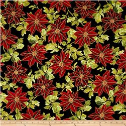 Winter Blossom Metallic Large Poinsettia Black/Gold