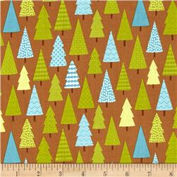 Riley Blake Happy Camper Trees Brown