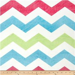 Minky 1 3/4'' Chevron Turquoise/Pink/Mint Fabric