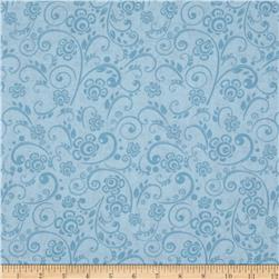 "108"" Wide Quilt Back Floral Swirl Light Blue"