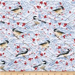 Timeless Treasures Holiday Chickadees in Snow Grey