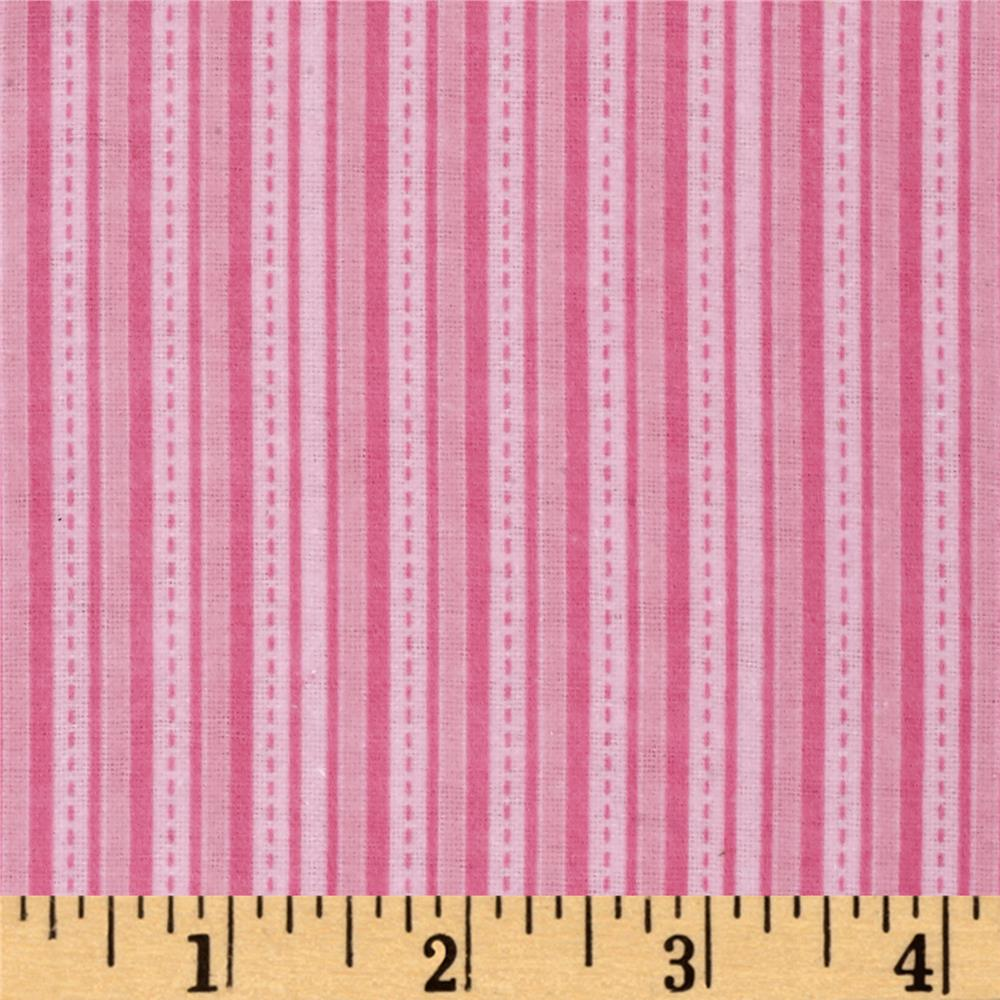 Alpine Flannel Stripe Pink Fabric