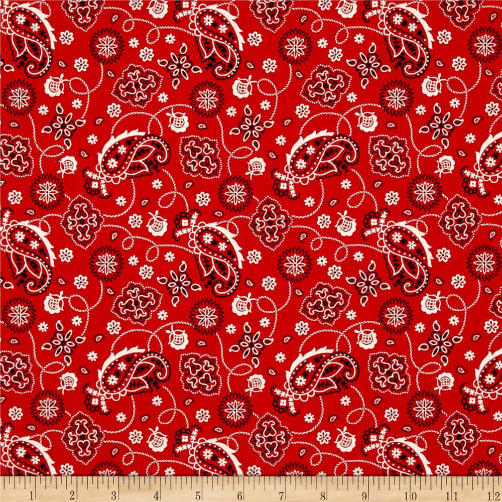 Cattle Drive Bandana Red Fabric By The Yard