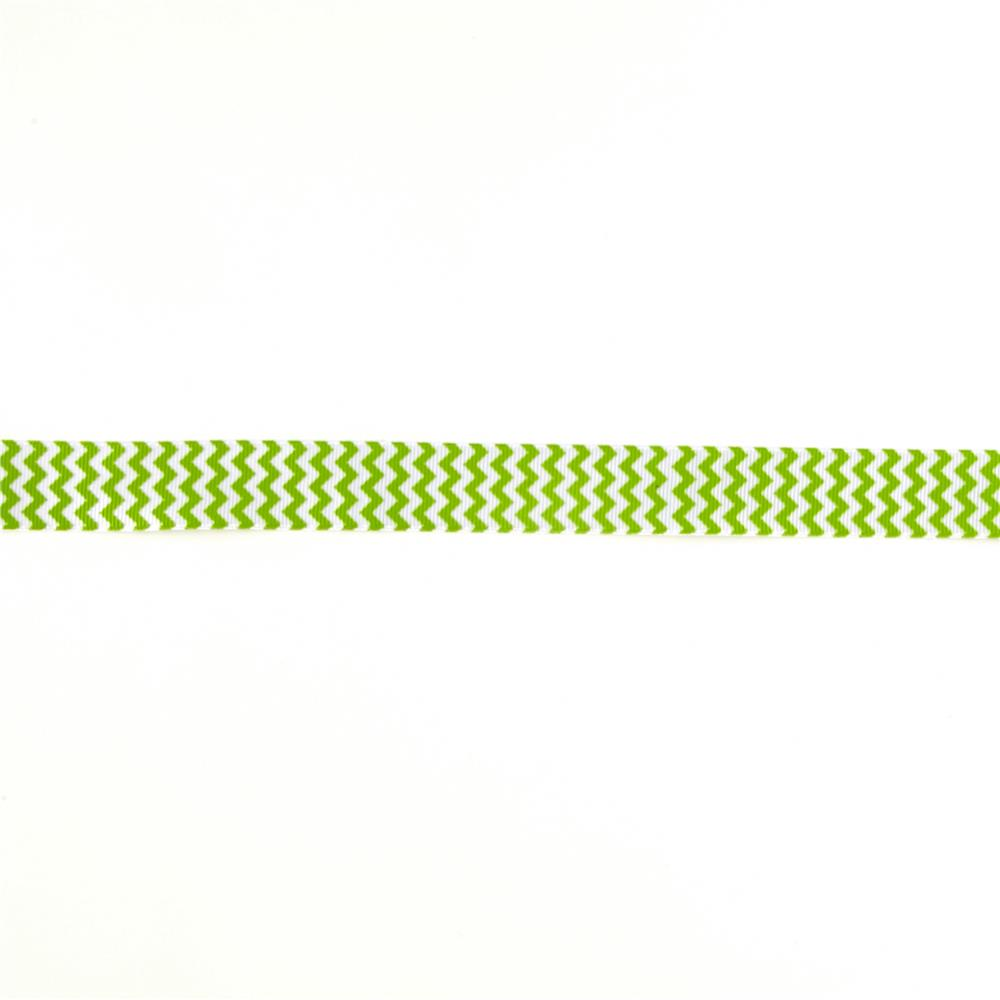 "Riley Blake 7/8"" Grosgrain Ribbon Chevron Lime"