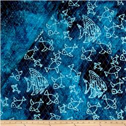 Double Face Quilted Indian Batik Fish Blue/Multi