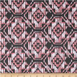 Stretch Poly Spandex Jersey Knit Diamond Medallion Pink/Black
