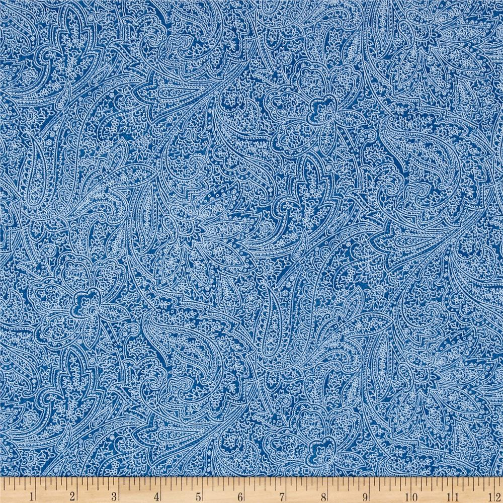 Flannel Paisley Blue Fabric