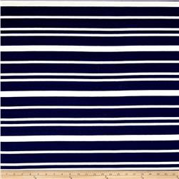 Ponte Knit Double Stripe Navy/Ivory