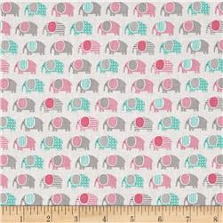 Robert Kaufman Urban Zoologie Mini Elephants Pink